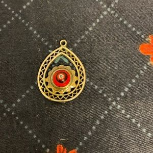 Vintage Gold Filigree Red Glass Bead Pendant